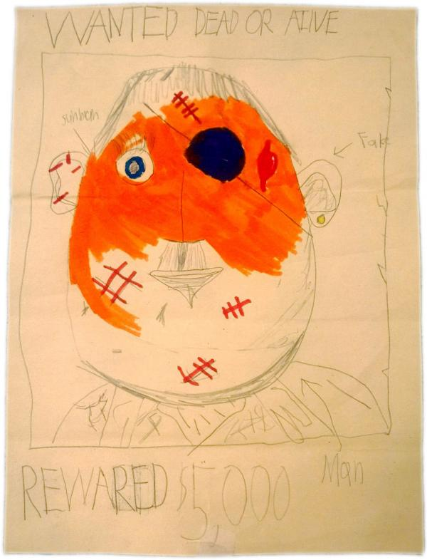 "Demi Clark's daughter Maizie, who was seated in the stands across from the first explosion on Boylston Street, drew this ""wanted"" poster at school in the days after the attack as law enforcement searched for the bombers."