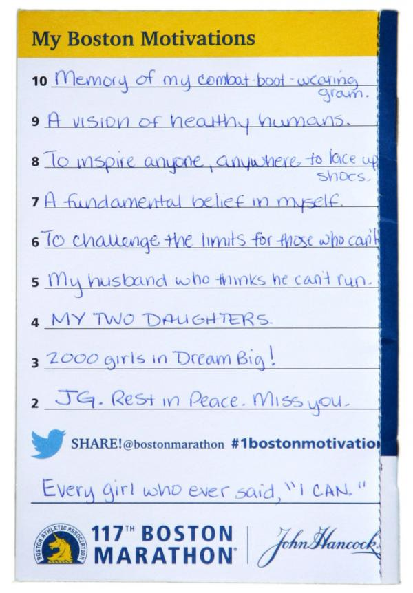 Demi Clark's handwritten list of motivations from last year's Boston Marathon.
