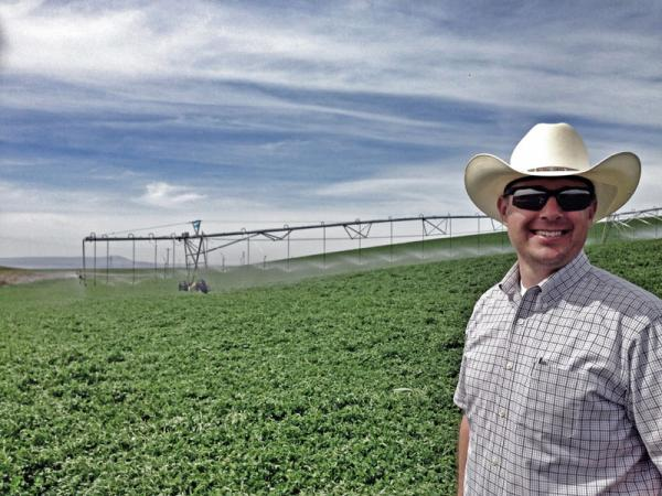 Drex Gauntt grows some of the earliest-harvested alfalfa in the Northwest near Burbank, Wash. Hay prices this year have him smiling.