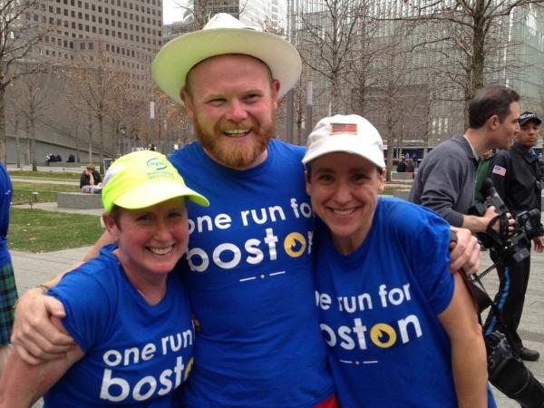 "Danny Bent and fellow runners during the ""One Run For Boston"" relay."