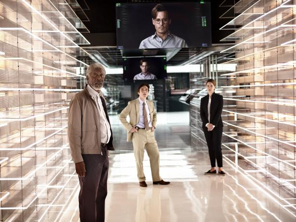 Morgan Freeman, Cillian Murphy, Rebecca Hall and the floating head of Johnny Depp in <em>Transcendence</em>.