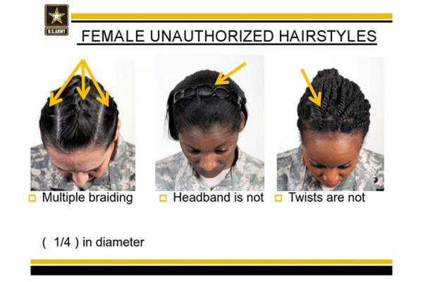 This image provided by the U.S. Army shows new Army grooming regulations for females. The new regulations on how women may style their hair has drawn criticism from the Congressional Black Caucus and female African American soldiers. (U.S. Army/AP Photo)