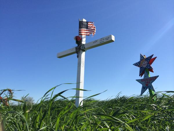Memorials near the site of the explosion in the town of West, Texas
