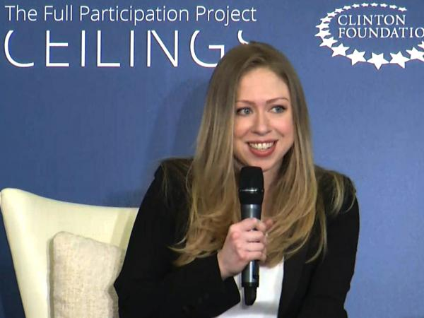 "Chelsea Clinton co-hosts ""Girls: A No Ceilings Conversation,"" in New York on Thursday. Clinton chose the venue to announce that she and her husband are expecting their first child."