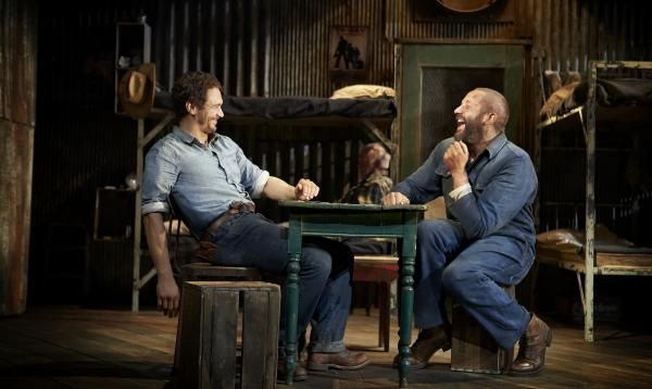 George (James Franco, left) and Lennie (Chris O'Dowd) are laborers and unlikely friends in Depression-era California in the new Broadway production of John Steinbeck's <em>Of Mice and Men</em>.