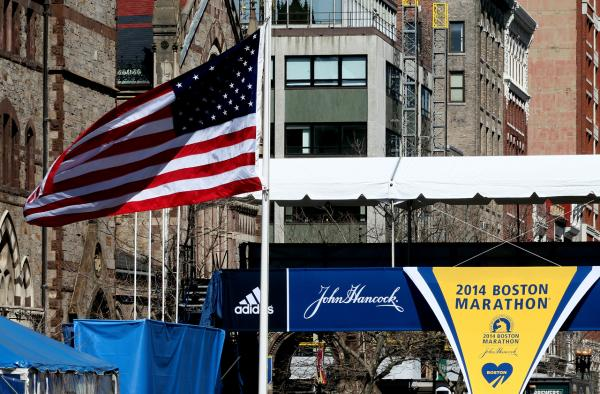 The finish line of the Boston Marathon, located on Boylston Street, is seen on April 16, 2014 in Boston, Massachusetts. (Alex Trautwig/Getty Images)