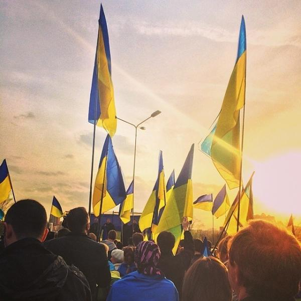 A pro-union rally in Donetsk.