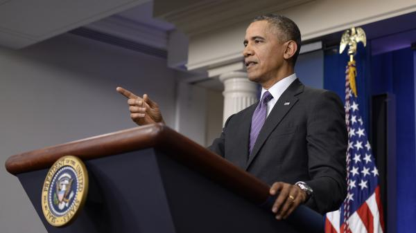 President Obama speaks in the White House briefing room Thursday.