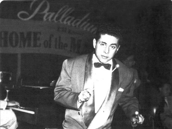 Tito Puente on vibraphone at the Palladium.