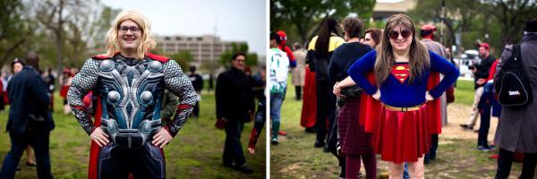 Greg Elrod (left) as Thor and Ken Roseman as Supergirl.