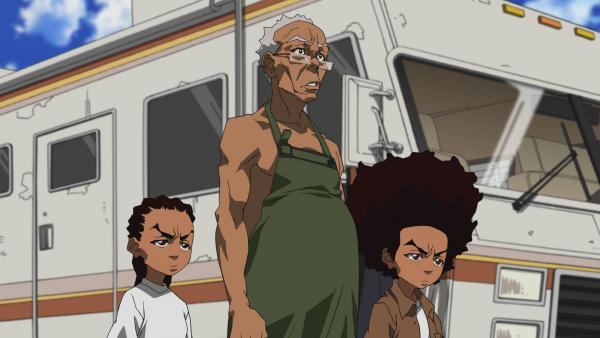 "Riley, Granddad and Huey in a scene from the ""Breaking Granddad"" episode of the animated series <em>The Boondocks.</em>"