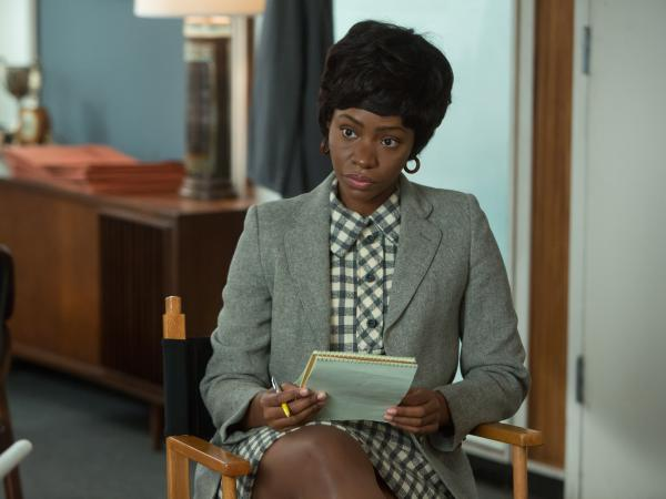 Teyonah Parris as Dawn Chambers, whose future changed quite a bit on Sunday night's <em>Mad Men</em>.