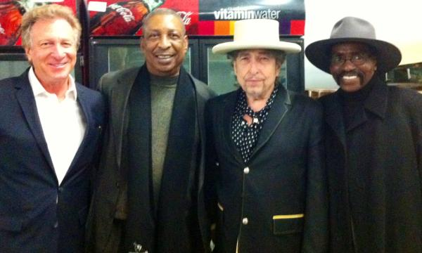 "Pictured from left are Thom Kidrin, John Artis, Bob Dylan and Rubin ""Hurricane"" Carter, in 2013. (Courtesy of Thom Kidrin)"