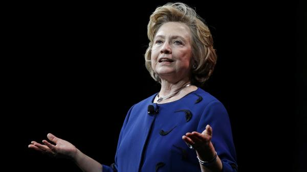 Former Secretary of State Hillary Clinton delivers a keynote address in San Francisco.