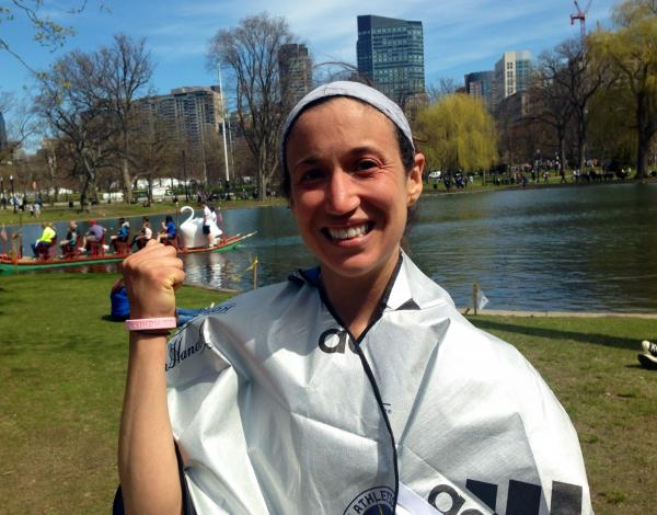 Gwen Meyer, 28, of Detroit after finishing the Boston Marathon.