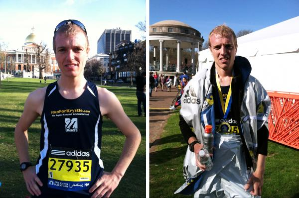 Matthew Conlon before and after running the Boston Marathon on Monday. Conlon is one of the eight runners who chronicled their journey to the marathon for NPR.