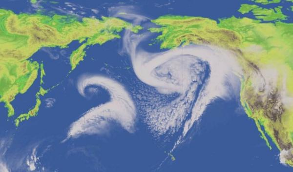 The Pacific storm track, seen here in a simulation by NOAA, affects weather and climate around the world.