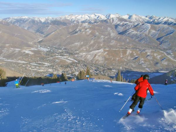 Notice the brown hills around Sun Valley in this Dec. 29, 2013 file photo. Snowmaking allowed the famous resort to operate during the crucial holiday period.