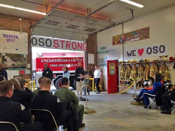President Barack Obama speaks at the firehouse in Oso, Wash., Tuesday.