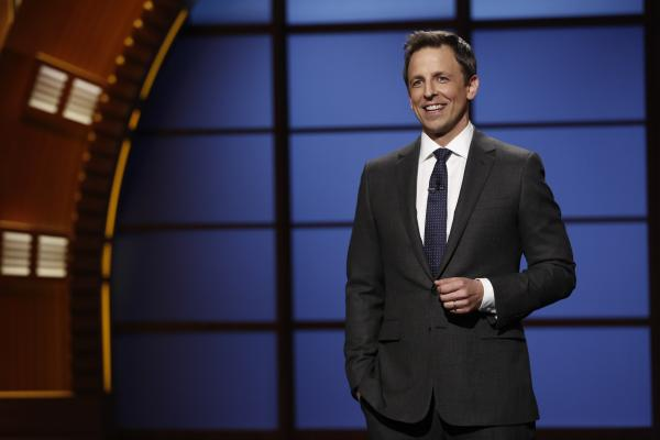 "Seth Meyers hosts the premiere of his talk show, <em>Late Night with Seth Meyers,</em> in February. ""The trickiest part of this job the first week was just figuring out what to do with my hands,"" says Meyers, who was used to holding a microphone during standup. Remembering that he had pockets was key."