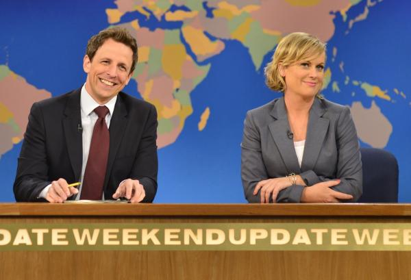 Seth Meyers anchored <em>Saturday Night Live</em>'s<em> Weekend Update</em> with Amy Poehler.