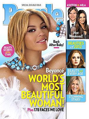 "Beyonce Knowles was chosen as <em>People</em>'s ""Most Beautiful Woman"" in 2012."