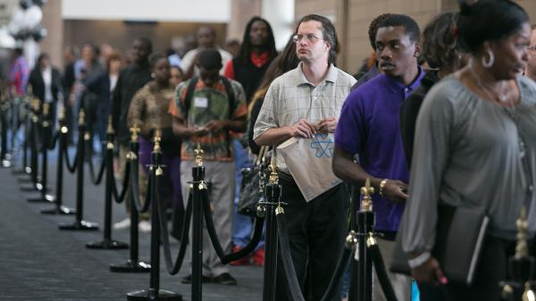 More than 3,600 people lined up to apply for about 1,000 openings at a job fair earlier this month in New Orleans.