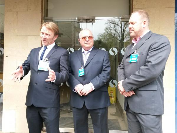 From left: Nicholas Thomas, Rob Cooze and Mike Betson were among 18 men who won a pay discrimination claim against the University of Wales, Trinity Saint David.