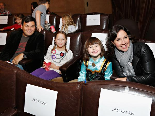Robert Lopez, Kristen Anderson-Lopez, and their daughters, who appear as singers (and accidental lyricists) in <em>Frozen</em>.