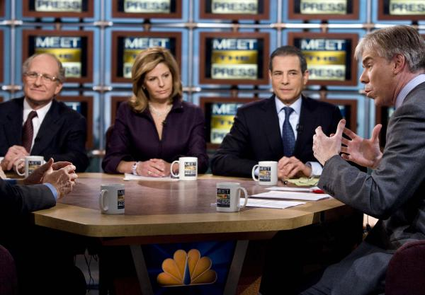 """Critics of Sunday morning political talk shows like """"Meet the Press"""" say they don't pack the same punch they used to, focusing too much on sensationalism rather than hard news. (Brendan Smialowski/Getty Images for Meet the Press)"""