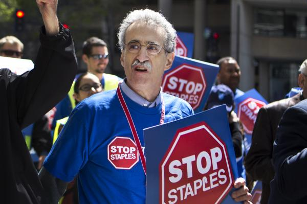 """Eventually these [kinds of] deals are going to shift living wage jobs in the postal system to non-living wage jobs in the retail sector,"" says Mark Dimondstein, president of the American Postal Workers Union, seen participating in Thursday's protest in Washington."