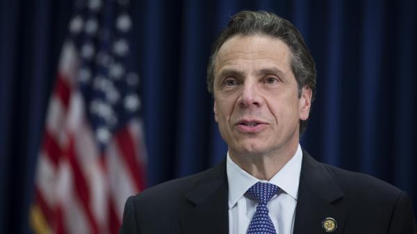 Gov. Andrew Cuomo speaks during an April 17 news conference in New York.