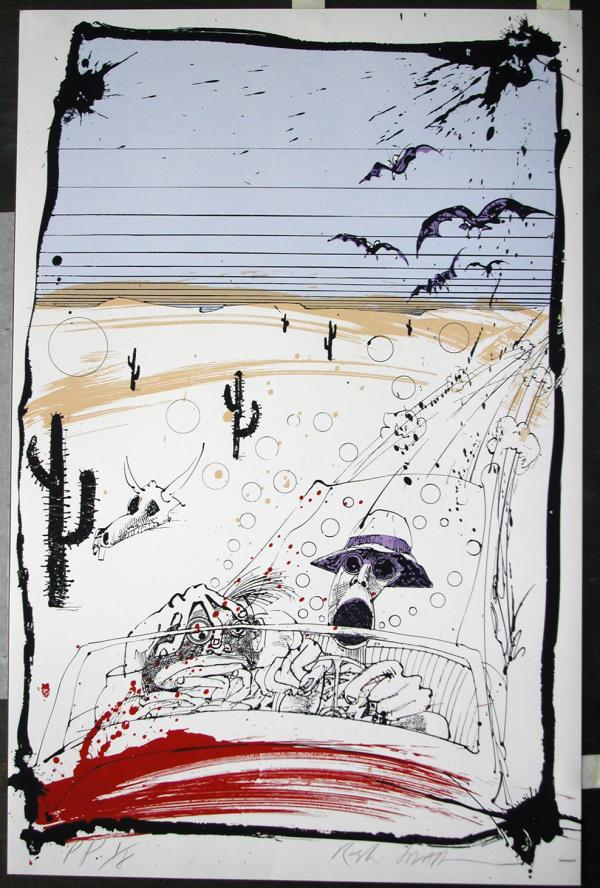 Steadman's drawing of Hunter S. Thompson's car beset by huge bats illustrated <em>Fear and Loathing in Las Vegas </em>in 1971.