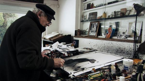 "Ralph Steadman starts a sketch by flinging ink onto his paper and then adding lines. ""You surprise yourself, and that's quite nice,"" he says."