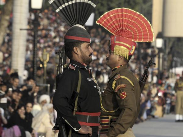 No love lost: Indian and Pakistani border guards.