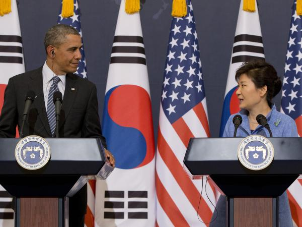 North Korea apparently doesn't like either of them: President Obama and South Korean President Park Geun-hye at a news conference in Seoul, South Korea, on Friday.