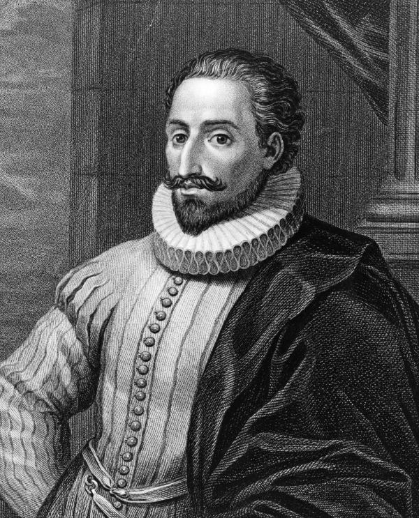 Spanish novelist Miguel de Cervantes, circa 1600. He published <em>The Adventures of the Ingenious Nobleman Don Quixote of La Mancha,</em> in two volumes, in 1605 and 1615.