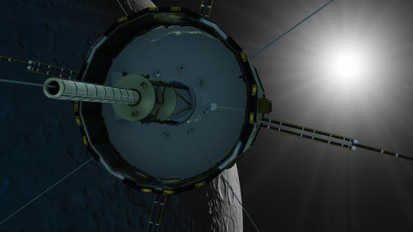 An artist's rendering depicts the satellite ISEE-3/ICE during its planned lunar fly-by in August 2014.