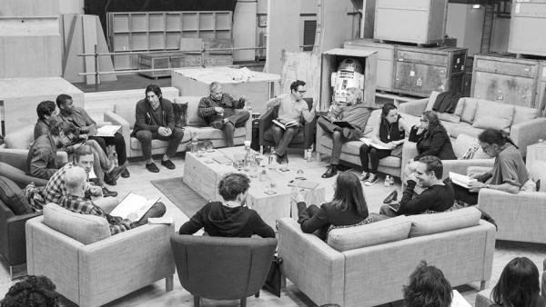 J.J Abrams (top center right) at the cast read-through of <em>Star Wars: Episode VII</em> on Tuesday with Harrison Ford (clockwise from right), Daisy Ridley, Carrie Fisher, Peter Mayhew, Producer Bryan Burk, Lucasfilm President and Producer Kathleen Kennedy, Domhnall Gleeson, Anthony Daniels, Mark Hamill, Andy Serkis, Oscar Isaac, John Boyega, Adam Driver and Writer Lawrence Kasdan.
