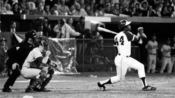 Hank Aaron breaks Babe Ruth's record for career home runs as he hits No. 715 at Atlanta-Fulton County Stadium on April 8, 1974, on his way to a career 755 home runs. Research suggests that in a wide variety of professions, including collegiate and professional sports, a small but significant number of individuals perform exceedingly well and the rest of individuals' performance trails off.