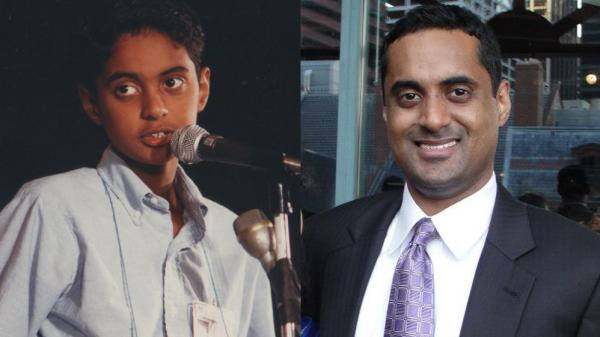 "Srinivas Ayyagari onstage in 1992 (left); at right, Ayyagari today. ""Seeing someone from ESPN commenting on your style and strategy was bizarre and weird. But it's the closest I'll ever come to being an athlete,"" Ayyagari says."