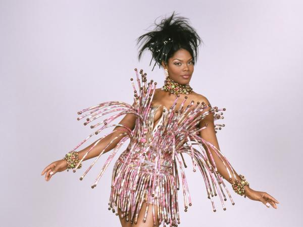 A cocktail dress of silk chine taffeta, horn, plastic and glass beads, horsehair tubing and plastic boning from French designer Tilmann Grawe, 2003-04.