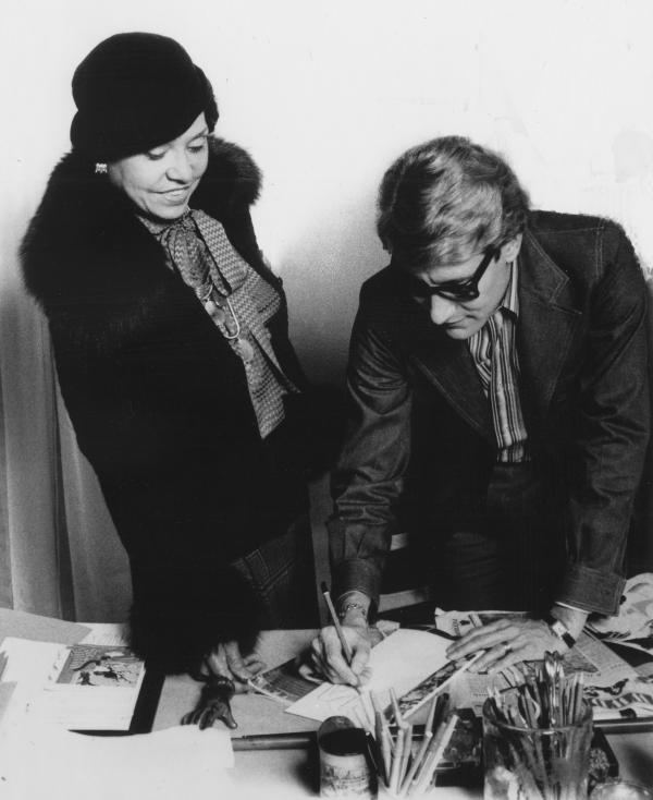 Eunice Johnson with designer Yves Saint Laurent, 1972.