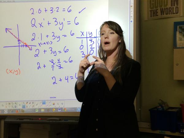 Christa Quint teaches a math class at the Lenox Academy. Teachers at the school resist the urge to offer hints when a student struggles with a question.