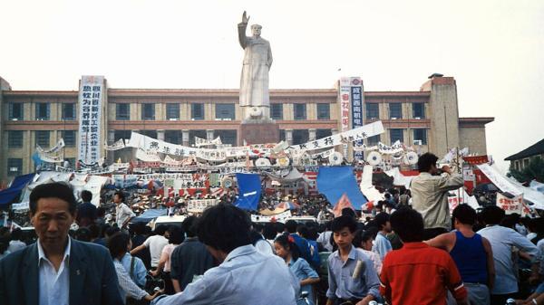 The world media captured the 1989 protests and crackdown in Beijing's Tiananmen Square. But across China, similar protests were taking place. Students in the southwest city of Chengdu began their own hunger strike in Tianfu Square several days after their Beijing counterparts. The photographer of this image — and several below — asked not to be identified because of current ties with China.