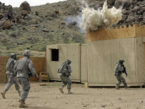 Soldiers simulate an RPG attack at the National Training Center in 2009.