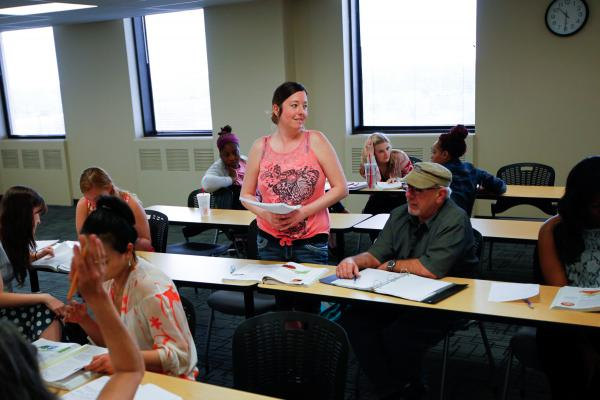 Tiffany Contreras gives a presentation in a nutrition class at Tulsa Community College. She's pursuing a nursing degree as part of the Career Advance program.