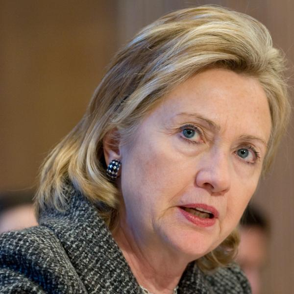 Then-Secretary of State Hillary Clinton testifying before the Senate Appropriations Committee in 2010.