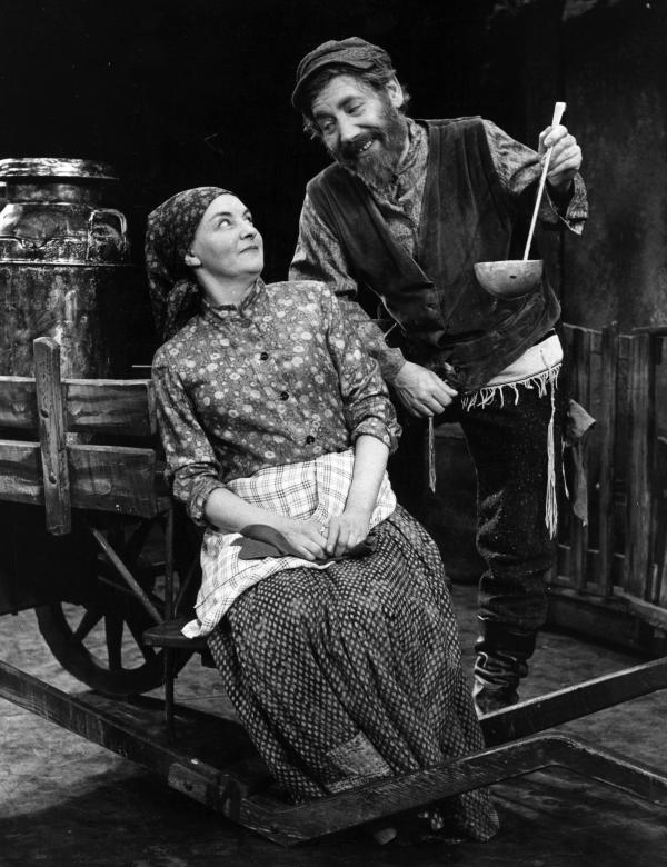 Alfie Bass as Tevye and Avis Bunnage as Golda during rehearsals for <em>Fiddler on the Roof</em> at Her Majesty's Theatre, London, in 1968.