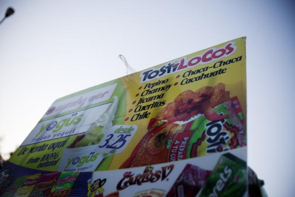 A billboard featuring the border's famous snack.